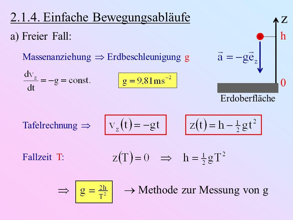 z 2.1.4. Einfache Bewegungsabläufe a) Freier Fall: h