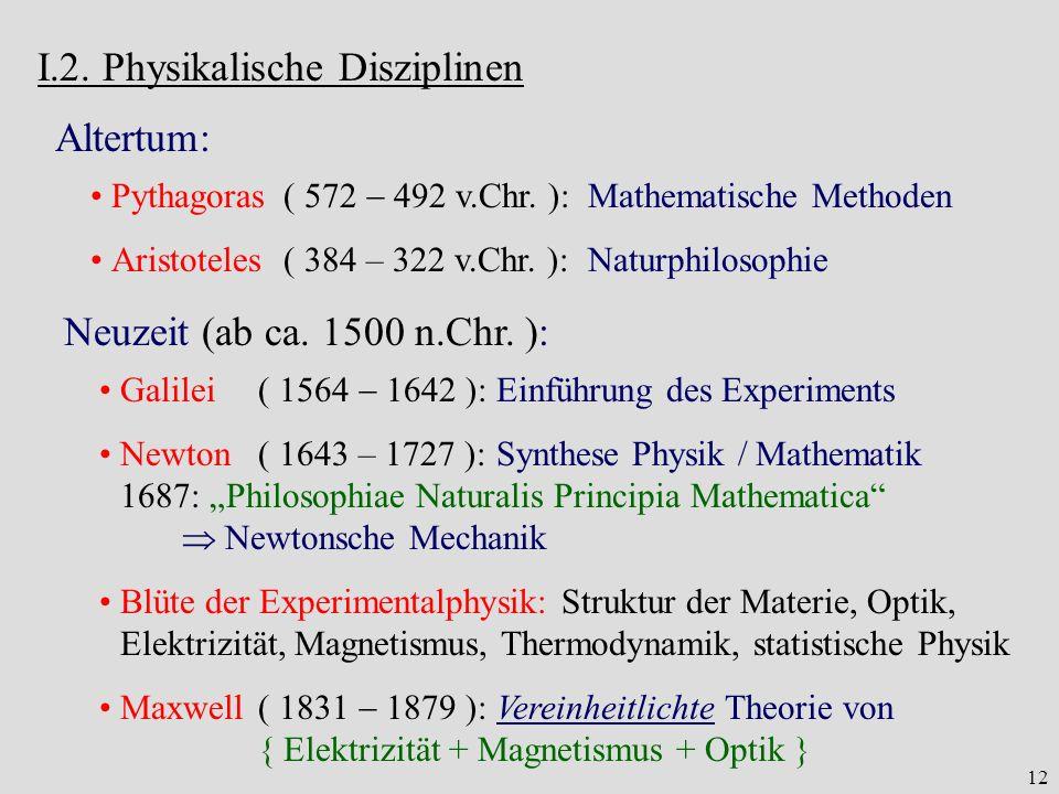 I.2. Physikalische Disziplinen