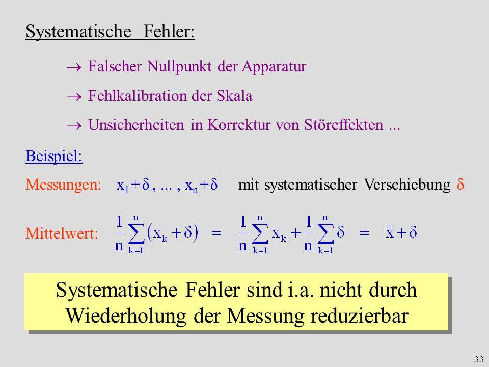 Systematische Fehler: