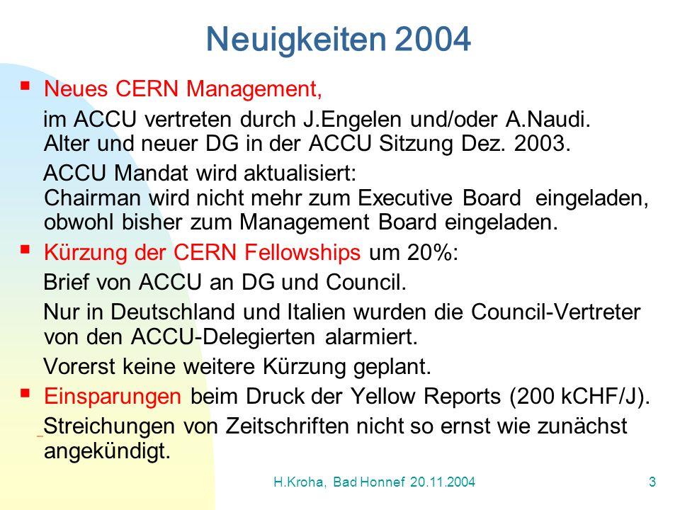 Neuigkeiten 2004 Neues CERN Management,