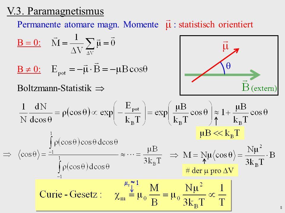 V.3. Paramagnetismus Permanente atomare magn. Momente : statistisch orientiert. B  0: (extern)