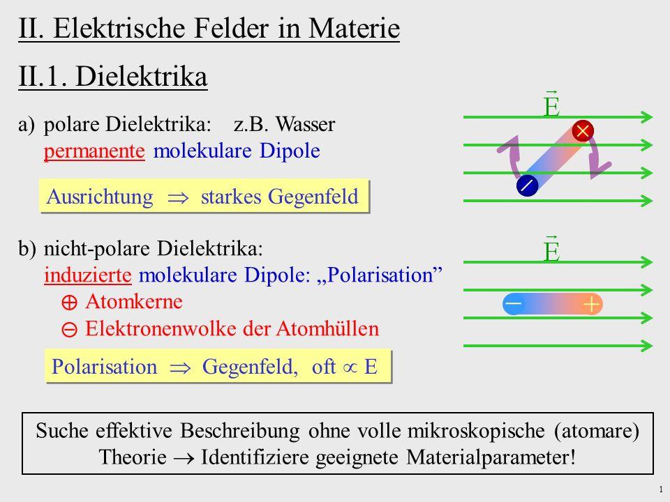 II. Elektrische Felder in Materie II.1. Dielektrika