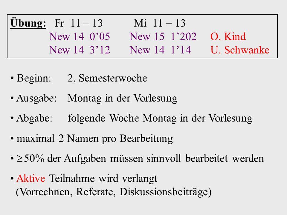 Übung: Fr 11 – 13 Mi 11  13 New 14 0'05 New 15 1'202 O. Kind. New 14 3'12 New 14 1'14 U. Schwanke.