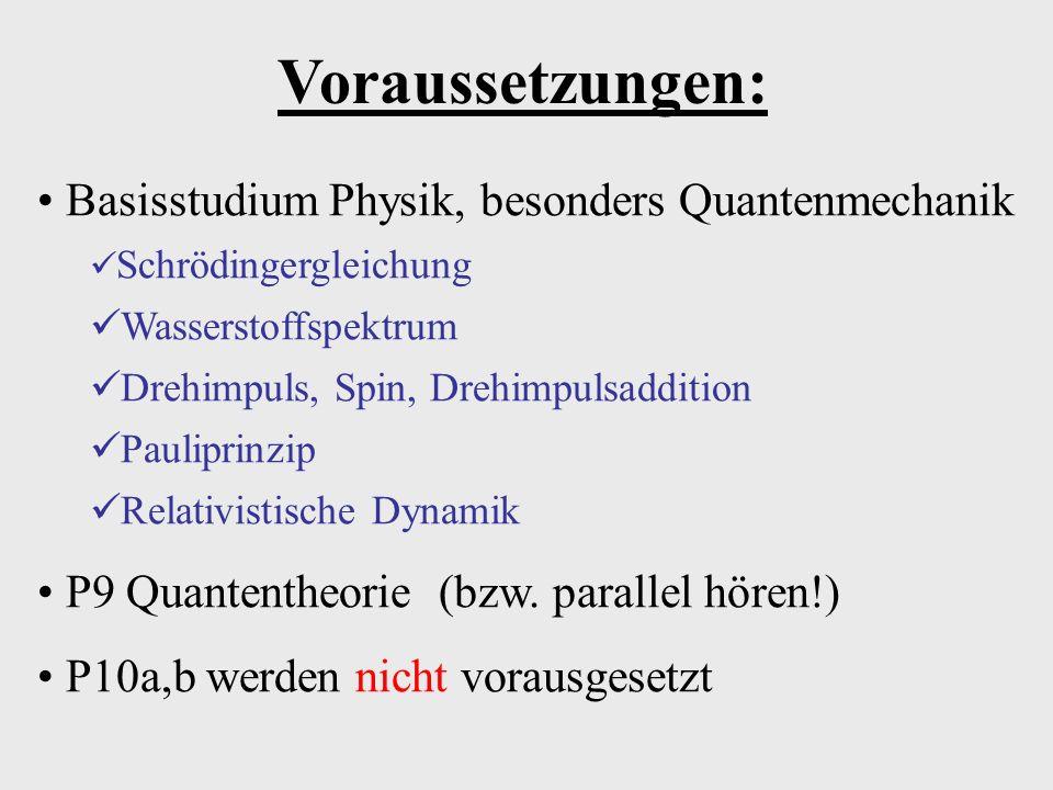 Voraussetzungen: Basisstudium Physik, besonders Quantenmechanik