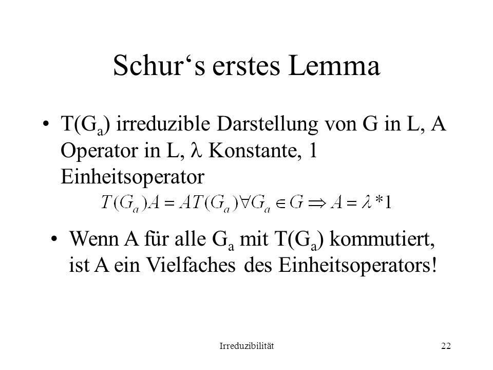 Schur's erstes Lemma T(Ga) irreduzible Darstellung von G in L, A Operator in L,  Konstante, 1 Einheitsoperator.