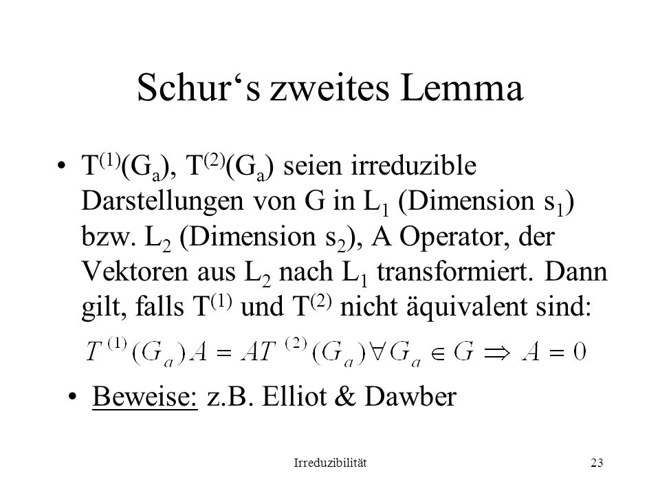 Schur's zweites Lemma
