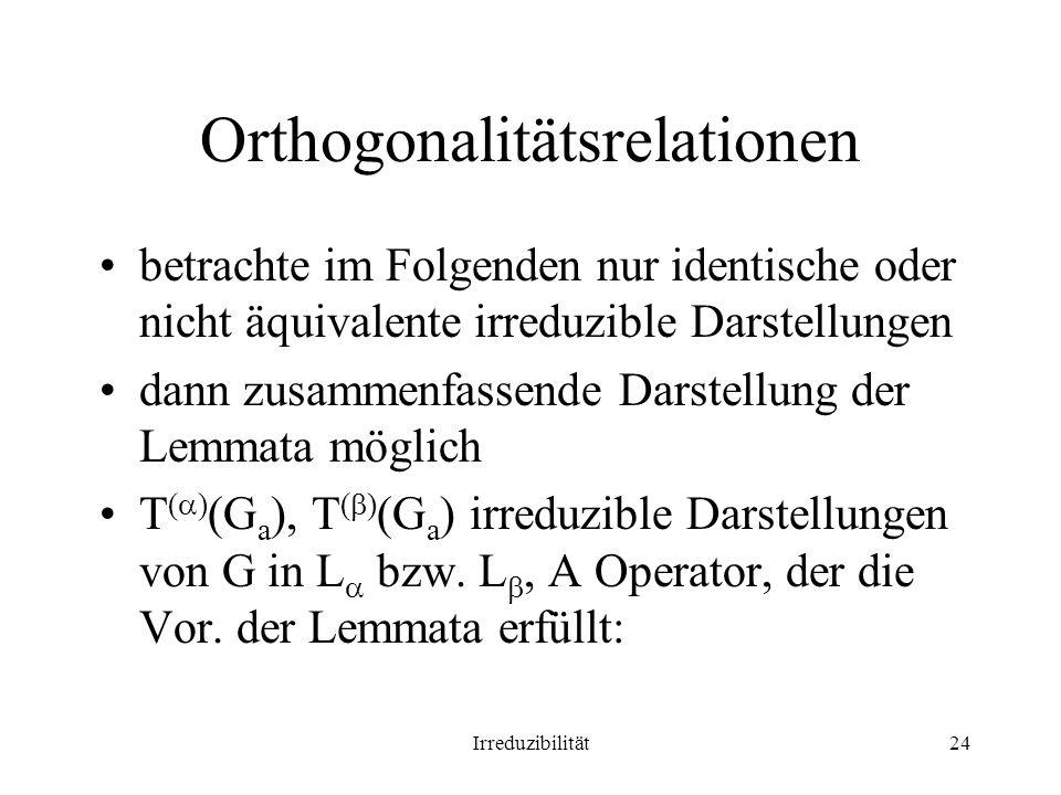Orthogonalitätsrelationen