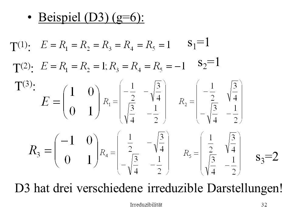 D3 hat drei verschiedene irreduzible Darstellungen!