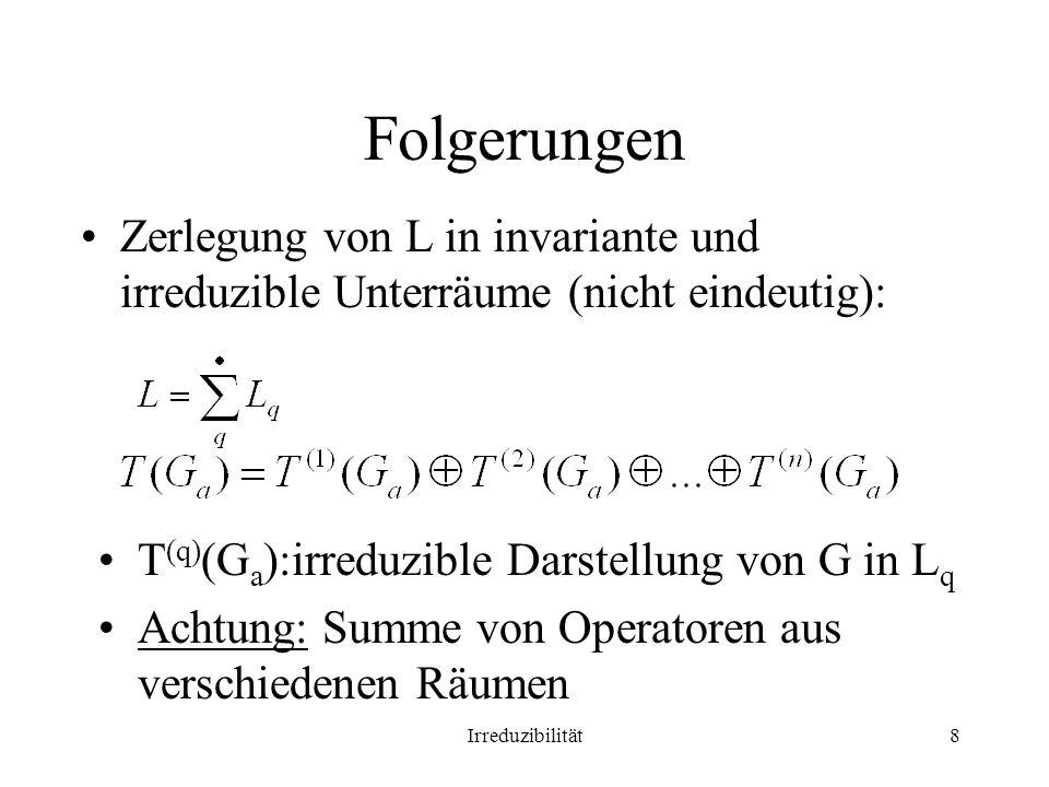 Folgerungen Zerlegung von L in invariante und irreduzible Unterräume (nicht eindeutig): T(q)(Ga):irreduzible Darstellung von G in Lq.