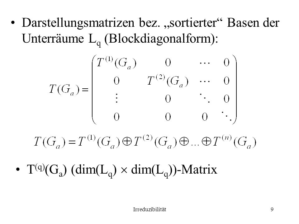 T(q)(Ga) (dim(Lq)  dim(Lq))-Matrix