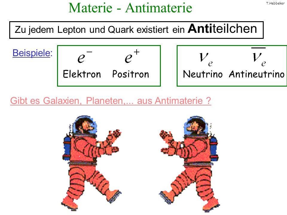 Materie - AntimaterieZu jedem Lepton und Quark existiert ein Antiteilchen. Beispiele: Elektron Positron Neutrino Antineutrino.