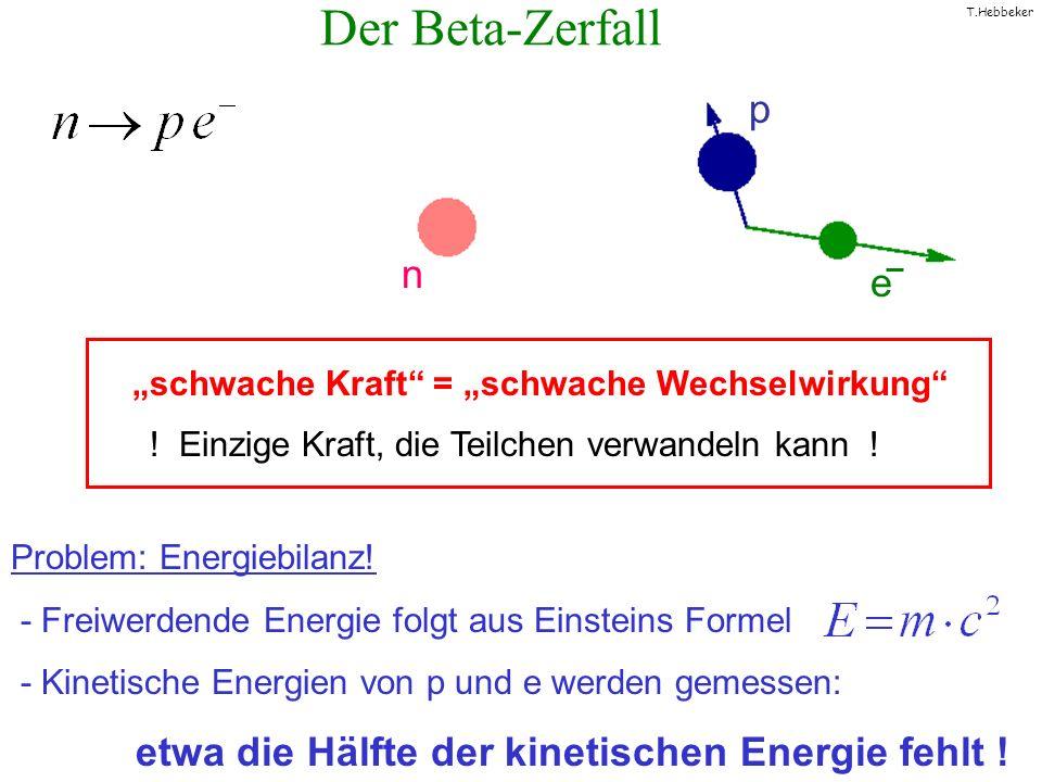 """Der Beta-Zerfall p n e """"schwache Kraft = """"schwache Wechselwirkung"""