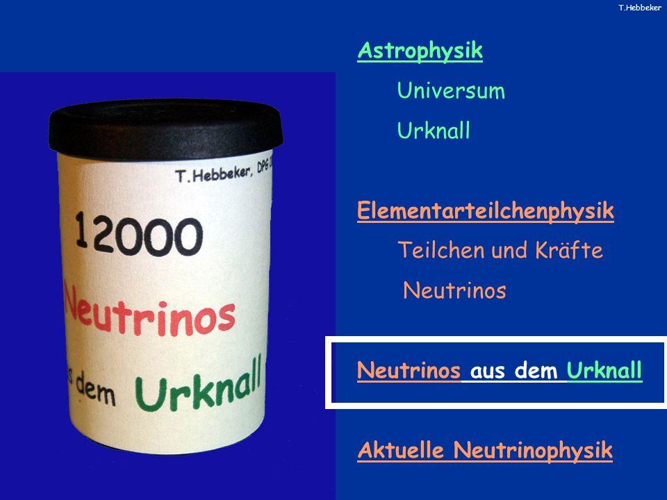 AstrophysikUniversum. Urknall. Elementarteilchenphysik. Teilchen und Kräfte. Neutrinos. Neutrinos aus dem Urknall.