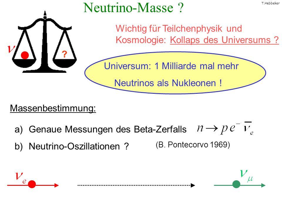 Neutrino-Masse Wichtig für Teilchenphysik und Kosmologie: Kollaps des Universums Universum: 1 Milliarde mal mehr.