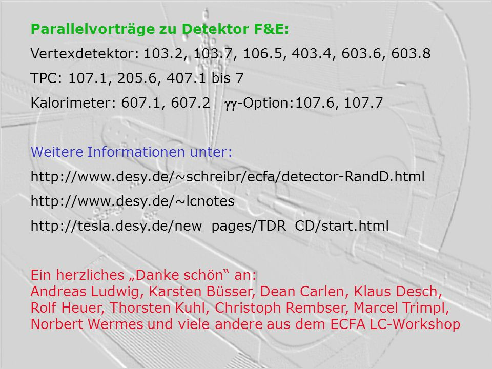 Parallelvorträge zu Detektor F&E: