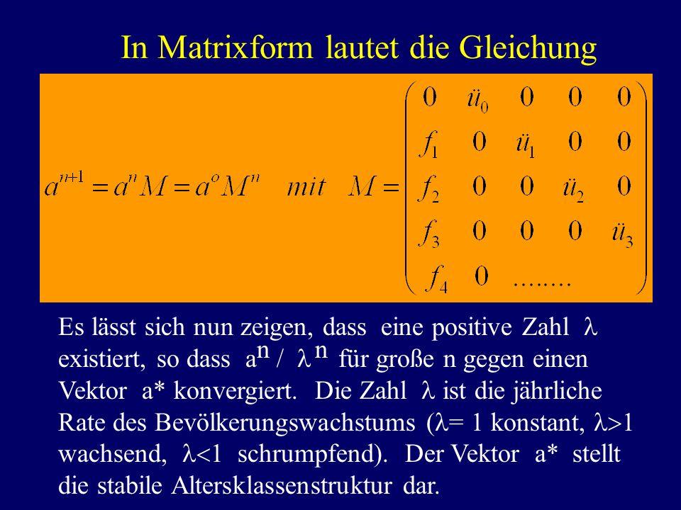 In Matrixform lautet die Gleichung
