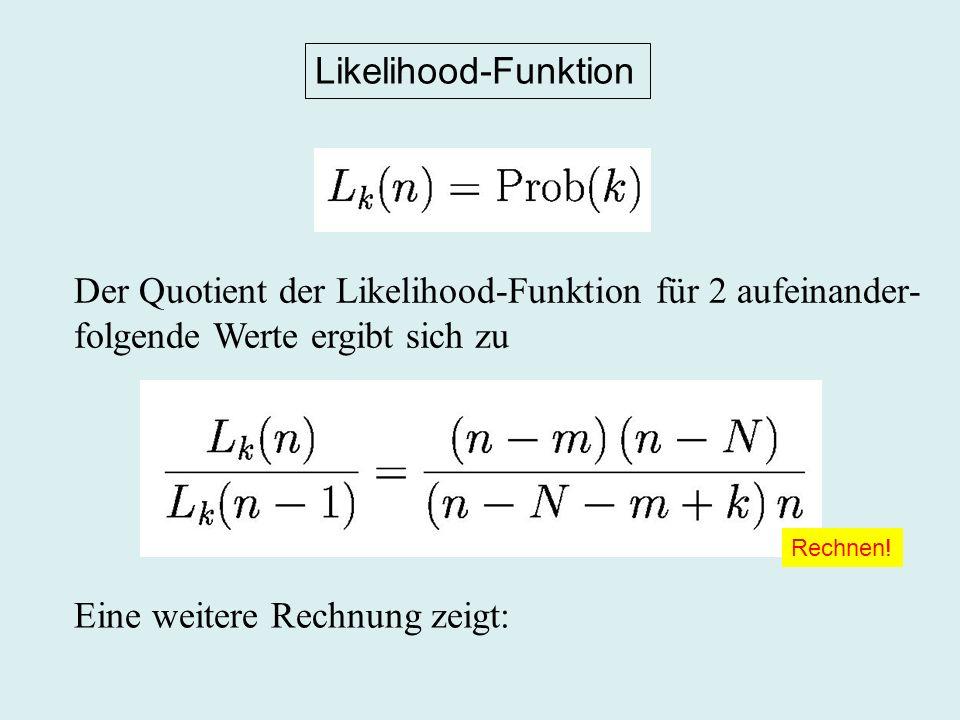 Der Quotient der Likelihood-Funktion für 2 aufeinander-