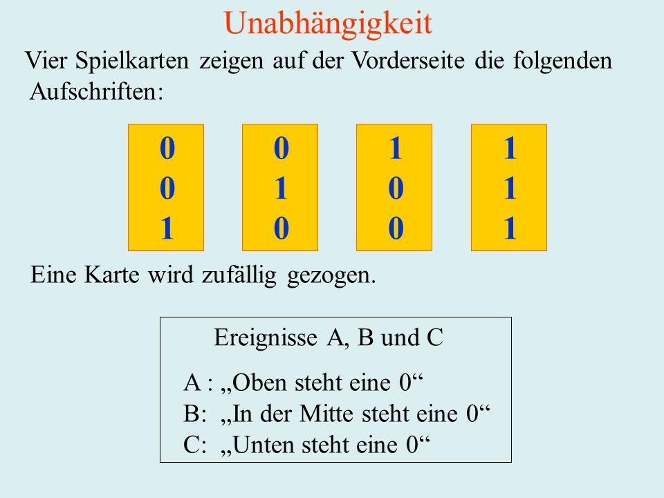 Unabhängigkeit Vier Spielkarten zeigen auf der Vorderseite die folgenden. Aufschriften: 1. 1. 1.