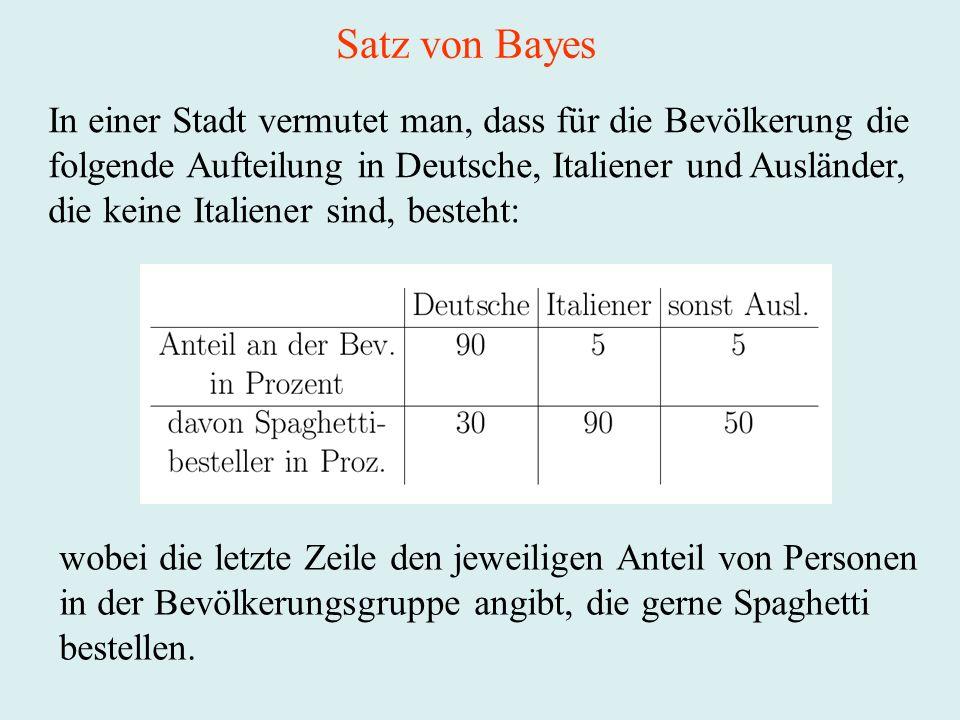 Satz von Bayes In einer Stadt vermutet man, dass für die Bevölkerung die. folgende Aufteilung in Deutsche, Italiener und Ausländer,