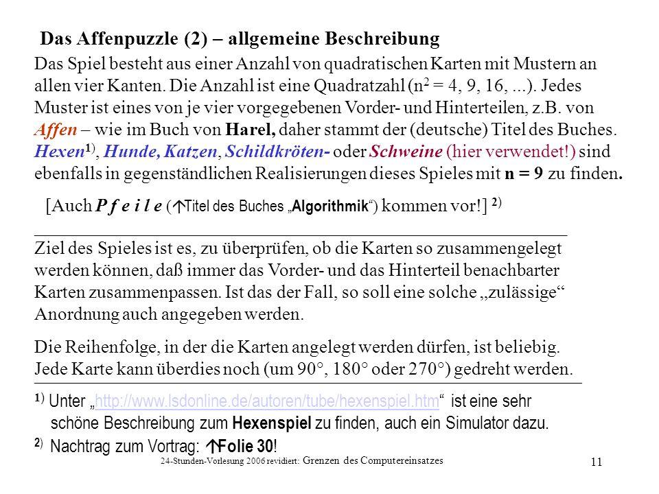 Das Affenpuzzle (2) – allgemeine Beschreibung