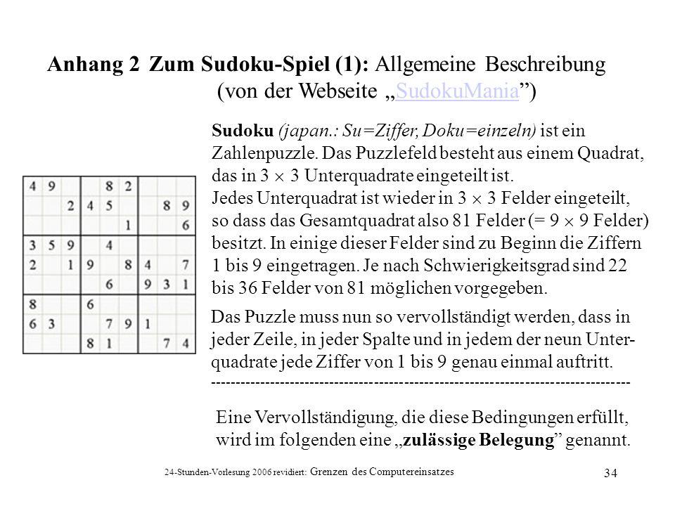 Zum Sudoku-Spiel (1): Allgemeine Beschreibung