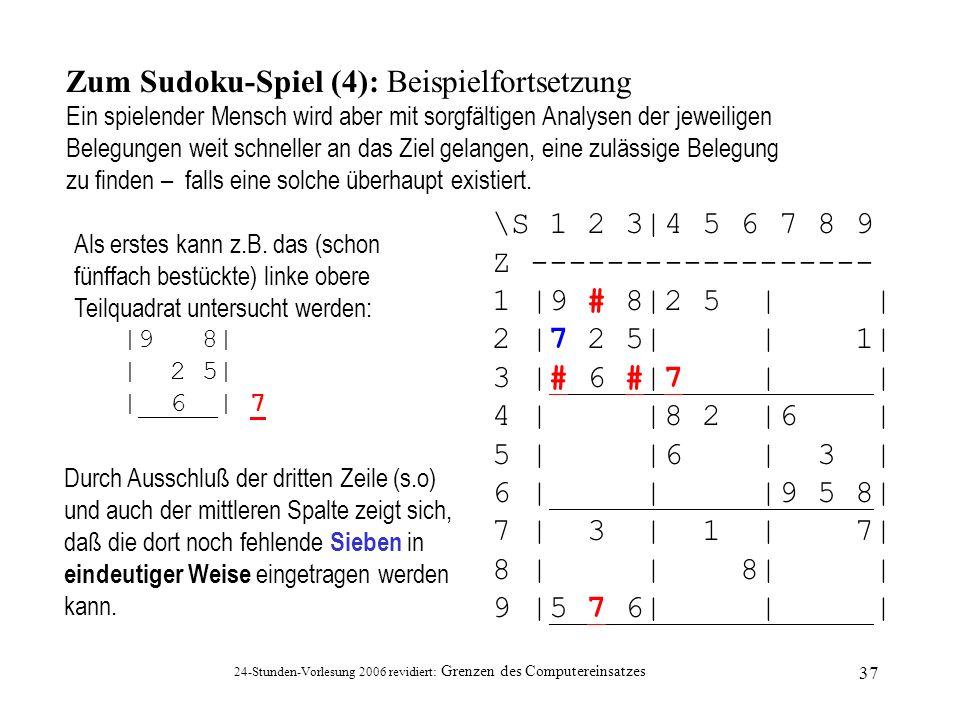 Zum Sudoku-Spiel (4): Beispielfortsetzung