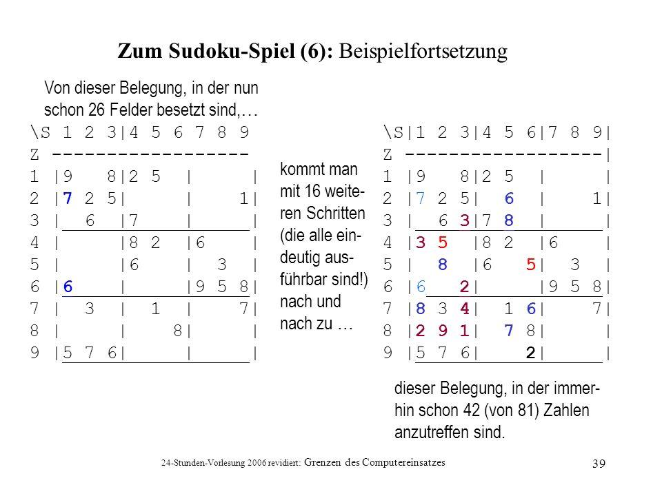 Zum Sudoku-Spiel (6): Beispielfortsetzung