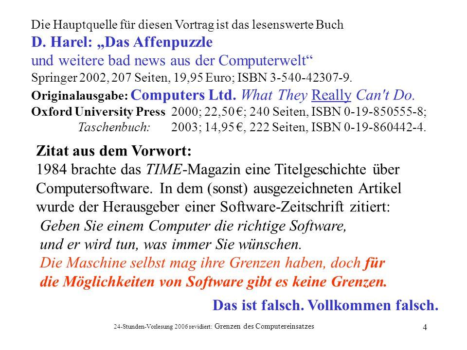 """D. Harel: """"Das Affenpuzzle und weitere bad news aus der Computerwelt"""