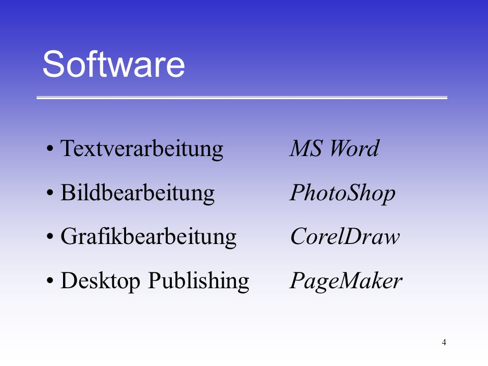 Software Textverarbeitung MS Word Bildbearbeitung PhotoShop