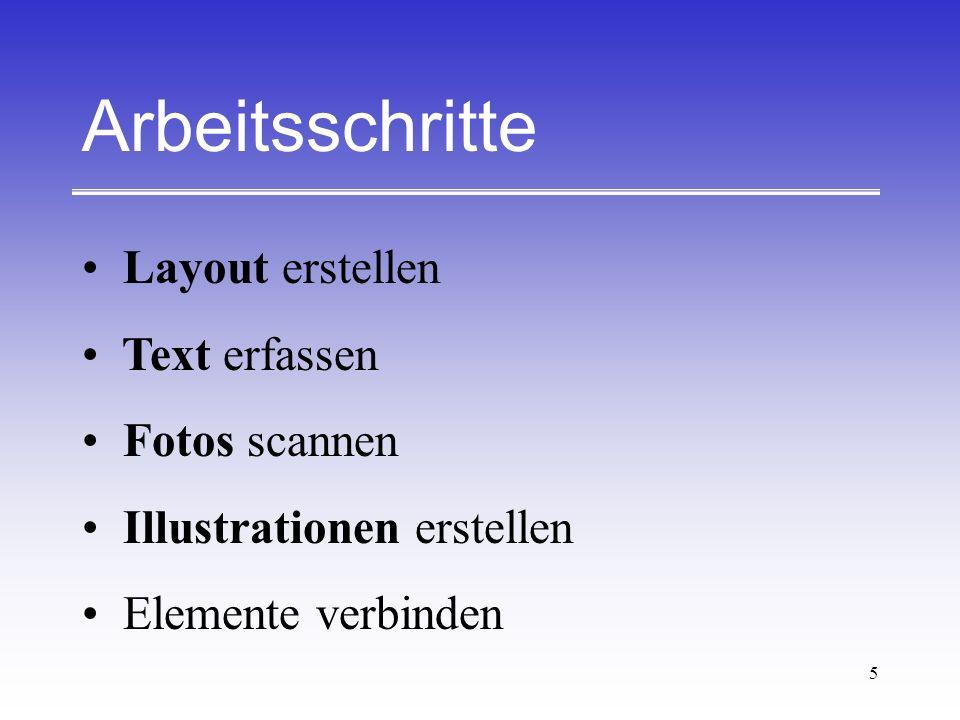 Arbeitsschritte Layout erstellen Text erfassen Fotos scannen