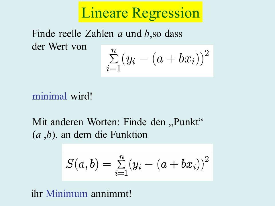 Lineare Regression Finde reelle Zahlen a und b,so dass der Wert von