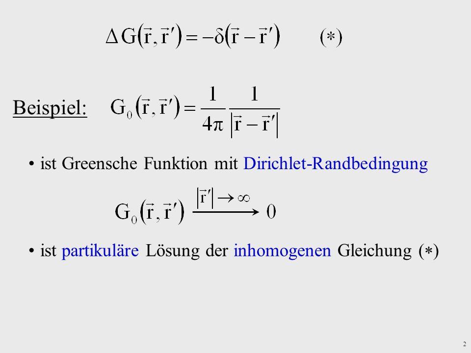 Beispiel: ist Greensche Funktion mit Dirichlet-Randbedingung