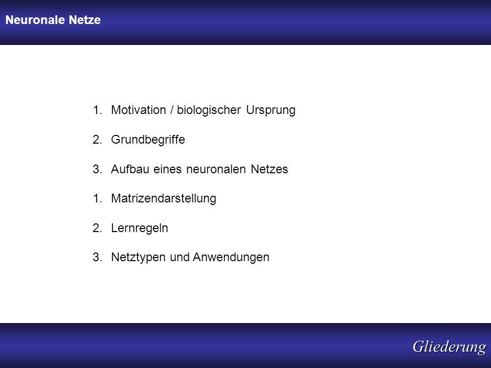Gliederung Neuronale Netze Motivation / biologischer Ursprung