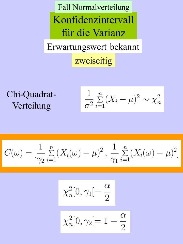 Konfidenzintervall für die Varianz Erwartungswert bekannt zweiseitig
