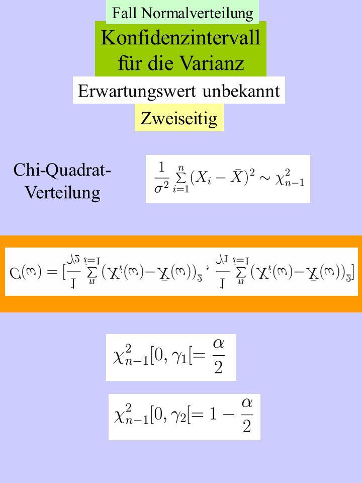 Konfidenzintervall für die Varianz Erwartungswert unbekannt Zweiseitig