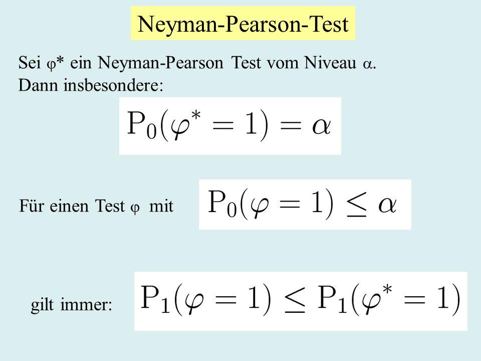 Neyman-Pearson-Test Sei * ein Neyman-Pearson Test vom Niveau .
