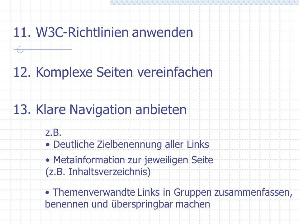 11. W3C-Richtlinien anwenden