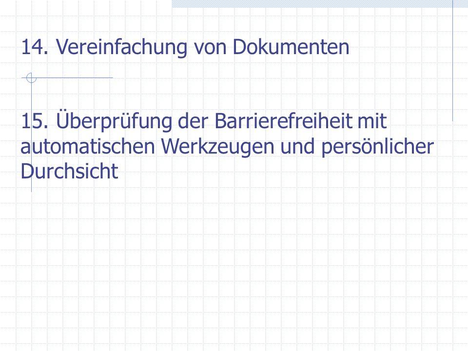 14. Vereinfachung von Dokumenten