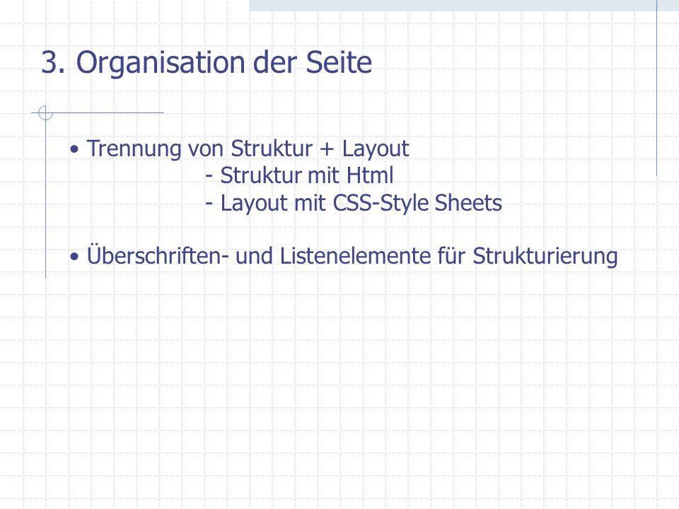 3. Organisation der Seite