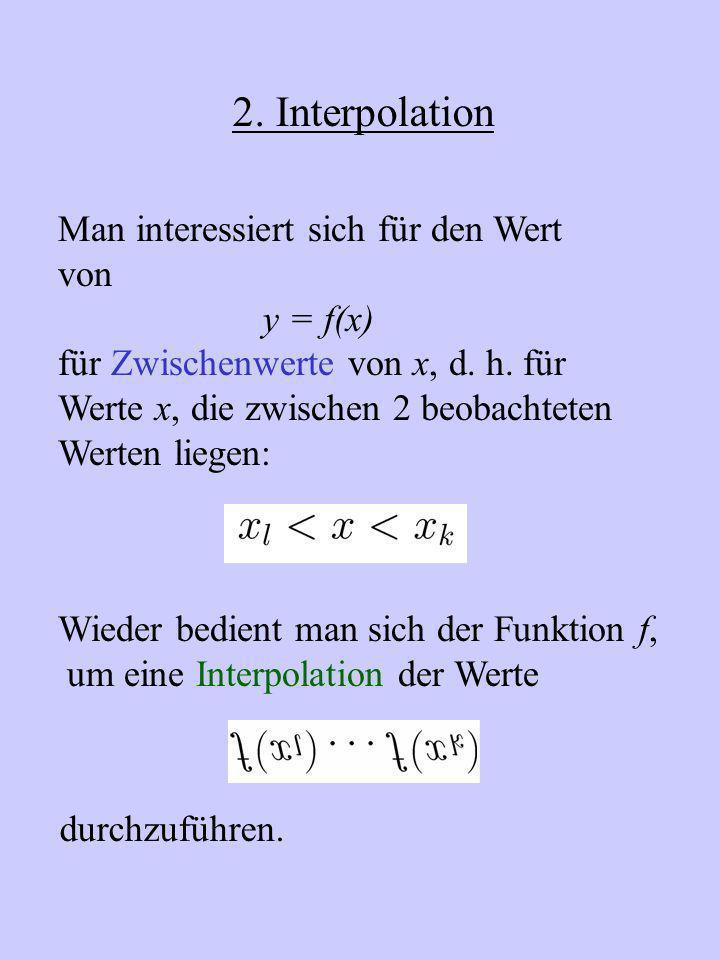 2. Interpolation Man interessiert sich für den Wert von y = f(x)