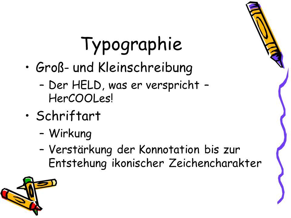 Typographie Groß- und Kleinschreibung Schriftart
