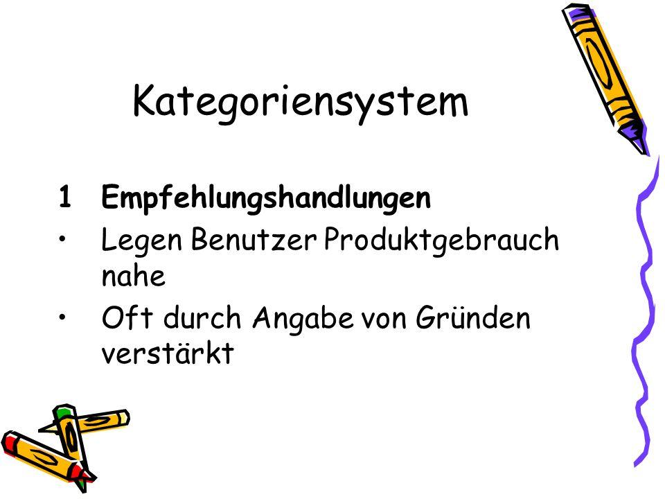 Kategoriensystem 1 Empfehlungshandlungen