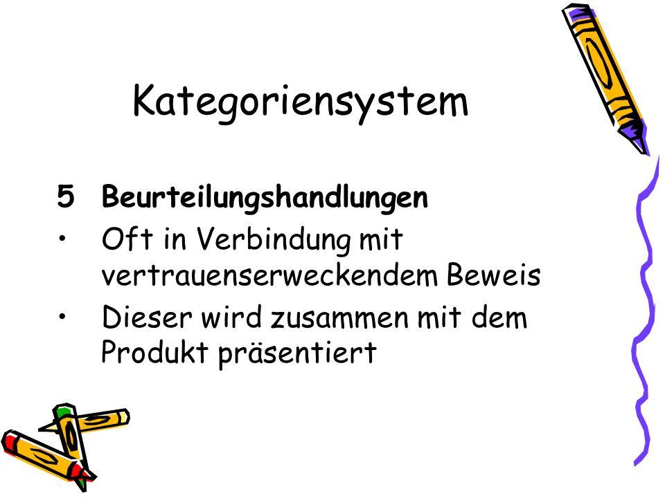 Kategoriensystem 5 Beurteilungshandlungen