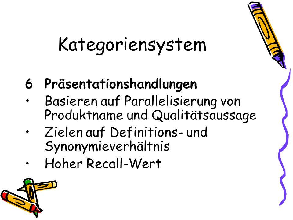 Kategoriensystem 6 Präsentationshandlungen