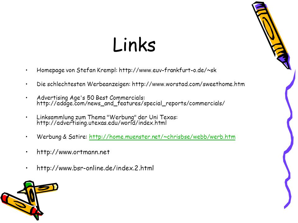 Links http://www.ortmann.net http://www.bsr-online.de/index.2.html