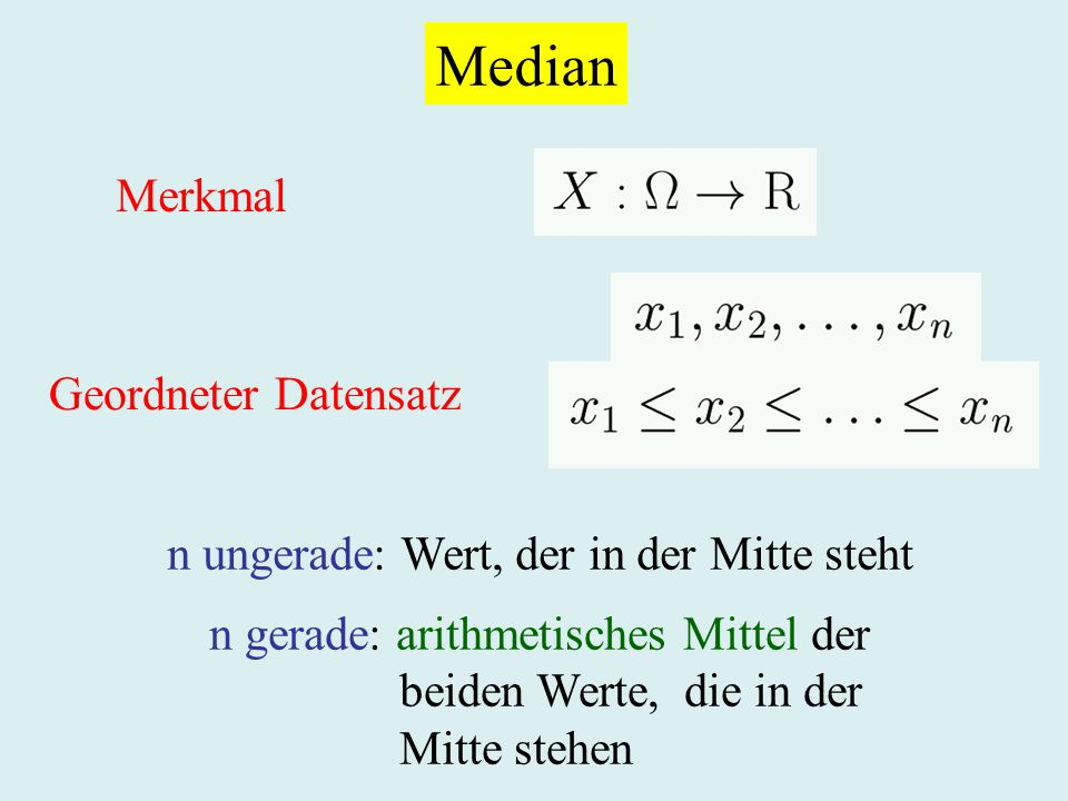 Median Merkmal Geordneter Datensatz