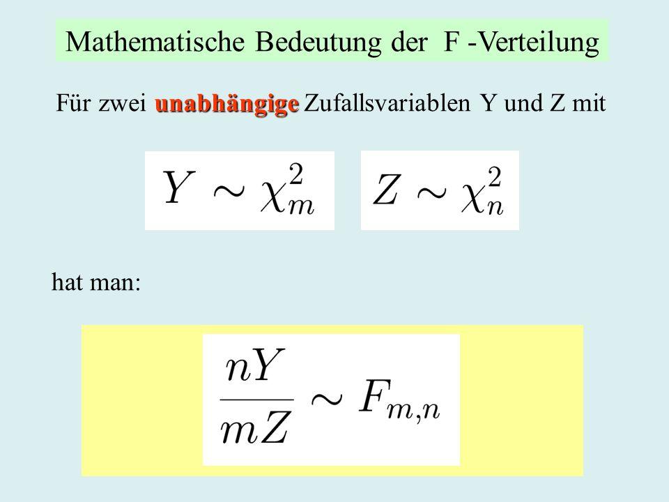 Mathematische Bedeutung der F -Verteilung
