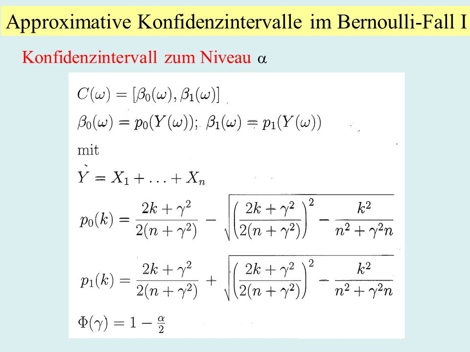 Approximative Konfidenzintervalle im Bernoulli-Fall I