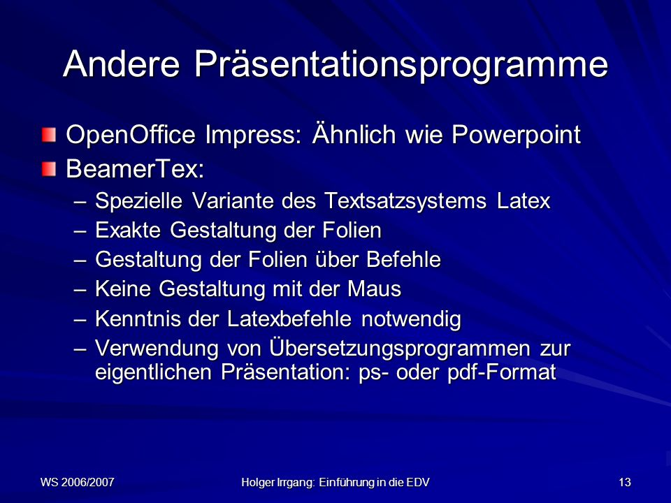Andere Präsentationsprogramme