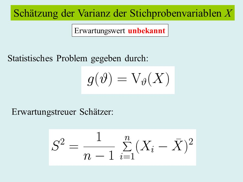 Schätzung der Varianz der Stichprobenvariablen X